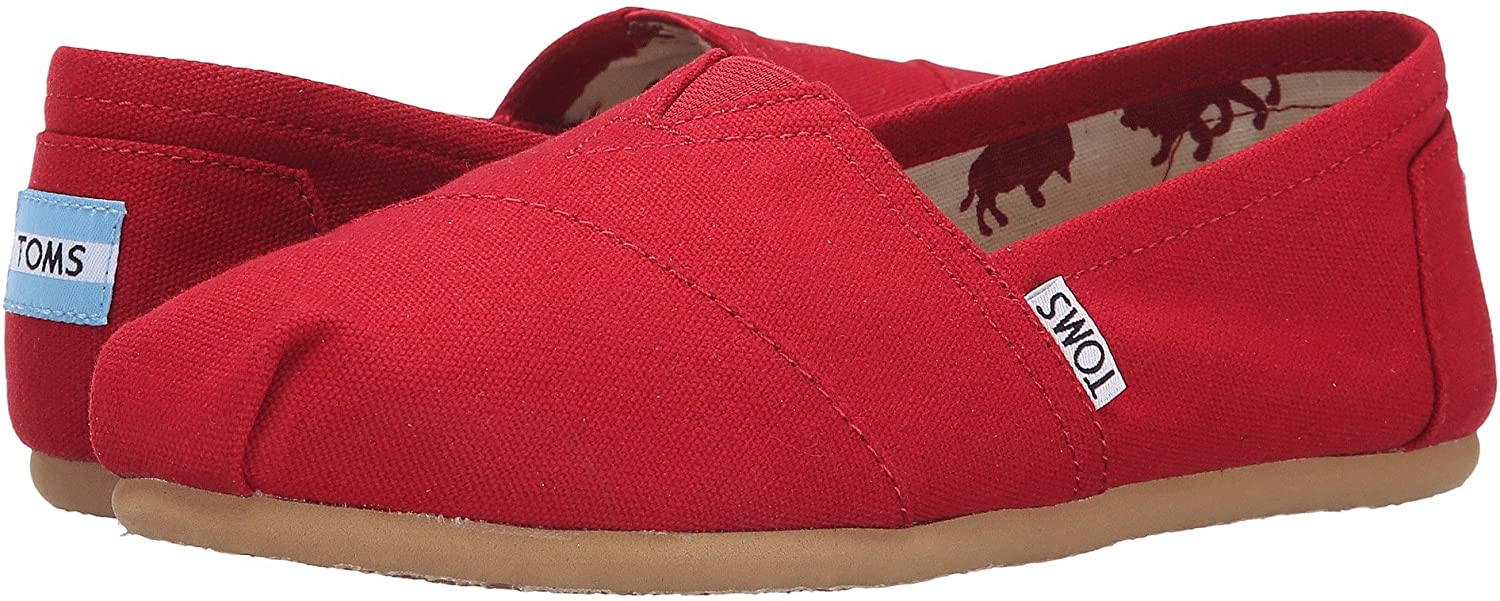 TOMS Women's Classic Canvas Slip-on,Red,9.5 M