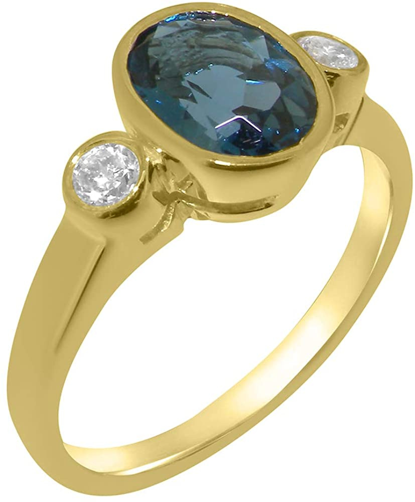 Solid 14k Yellow Gold Natural London Blue Topaz & Cubic Zirconia Womens Trilogy Ring - Sizes 4 to 12 Available