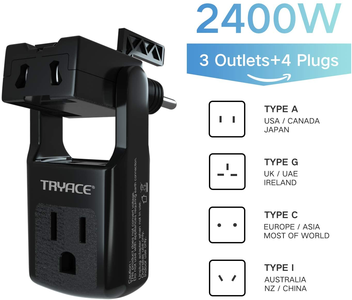 TRYACE 2020 Upgraded Travel Adapter,Worldwide All in One Universal Travel Adaptor Wall AC Power Plug Adapter Wall Charger with 3 Outlets&4 Plugs