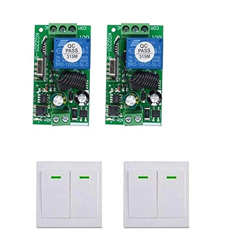 Calvas Intelligent appliance AC110V 220 V 110V 1 CH 1CH 10A Wireless Remote Control LED Light lamp Switch +Wall stick controller 315mhz - (Color: 2 switch 2 remote)