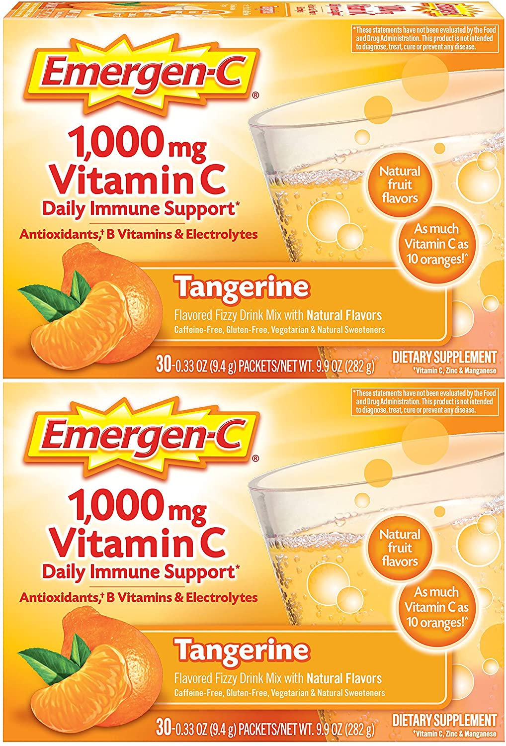 Emergen-C 1000mg Vitamin C Powder, with Antioxidants, B Vitamins and Electrolytes, Vitamin C Supplements for Immune Support, Caffeine Free Drink Mix, Tangerine Flavor - 30 count, pack of 2