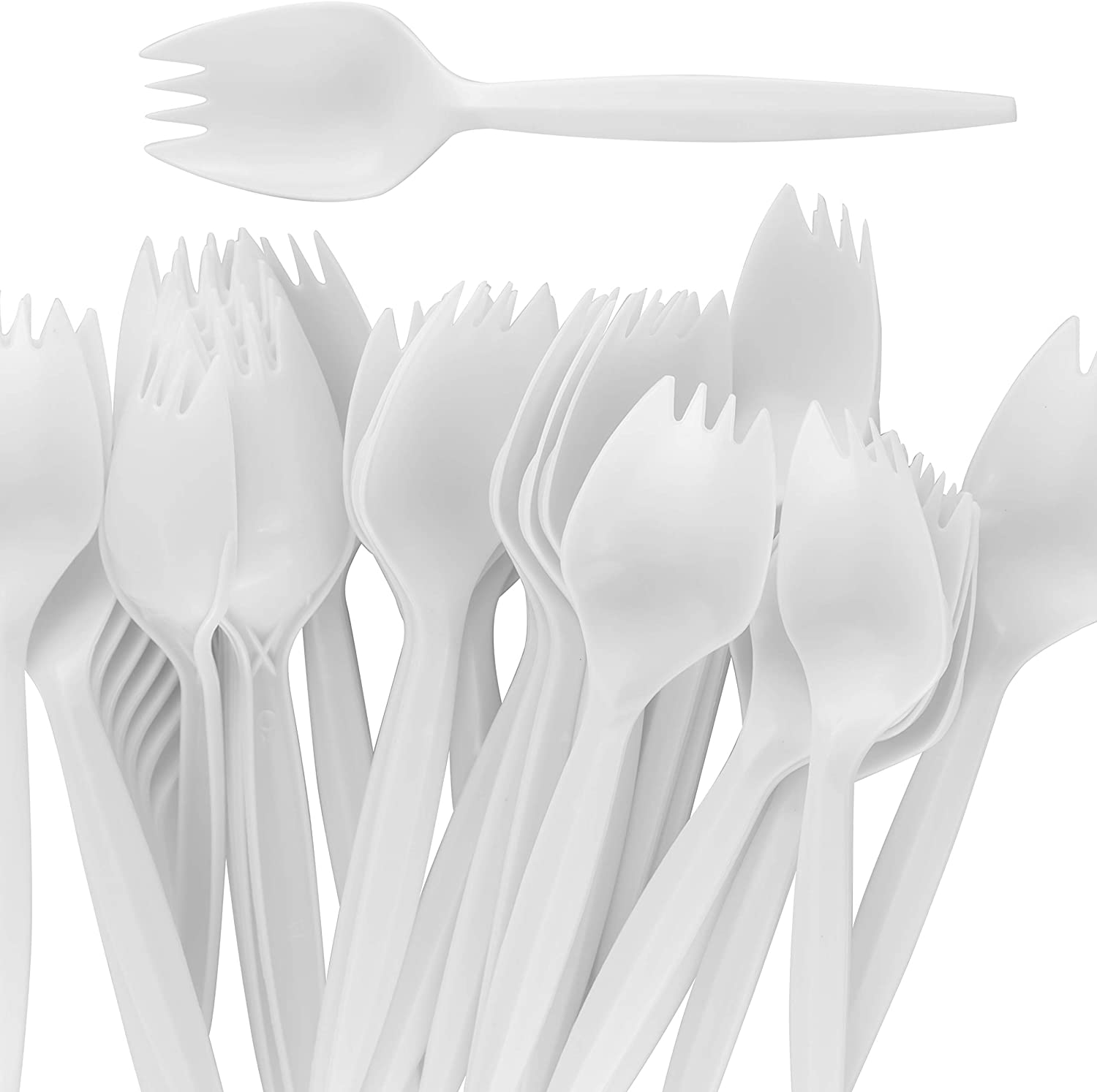 BPA-Free White Disposable Sporks 50Pk. Recyclable, Eco-Friendly and Kid-Safe 2-in-1 Utensils Built Strong to Last Large Meals. Great for School Lunch, Picnics or Restaurant and Party Supply