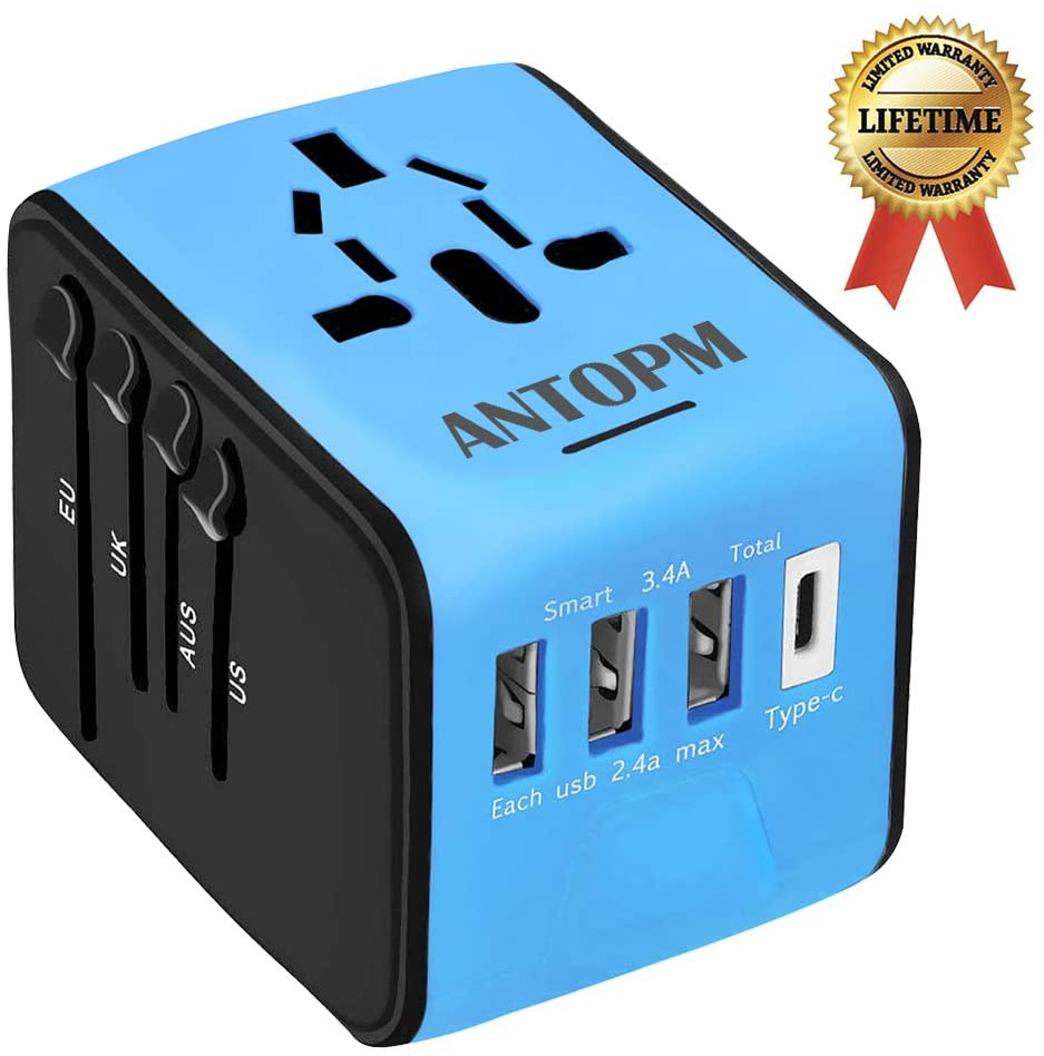 ANTOPM Universal Travel Adapter, International Power Adapter European Adapter with 3 USB & Type C Charger, All in One Adapter Wall Charger for US UK AUS EU Asia 150+Countries, Blue
