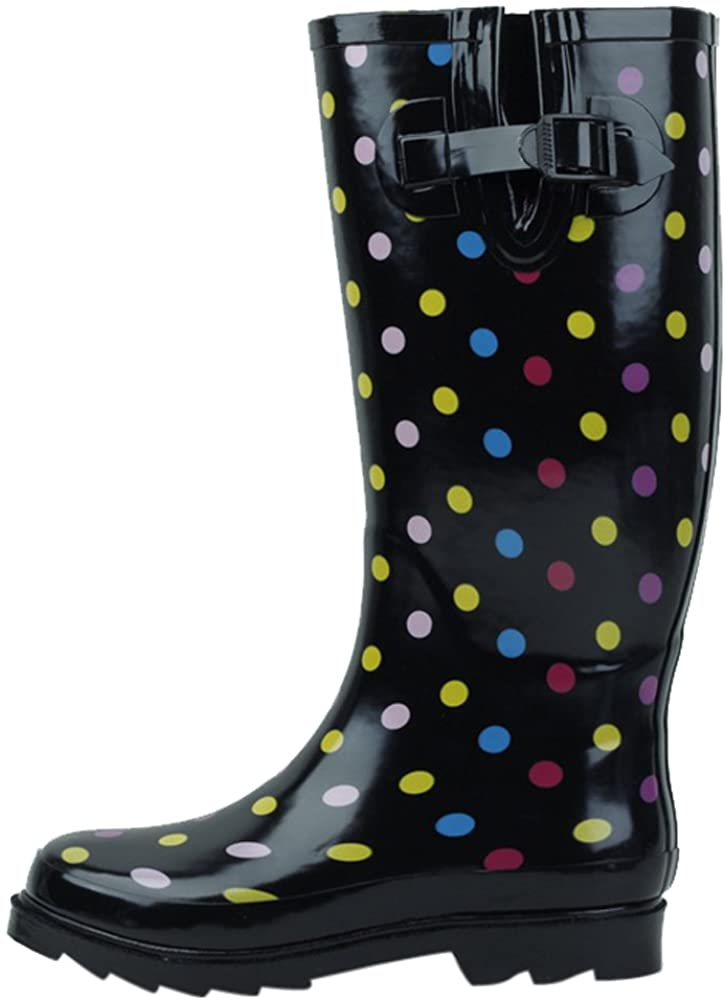 SBC Women's Rain Boots Adjustable Buckle Fashion Mid Calf Wellies Rubber Knee High Snow Multiple Styles