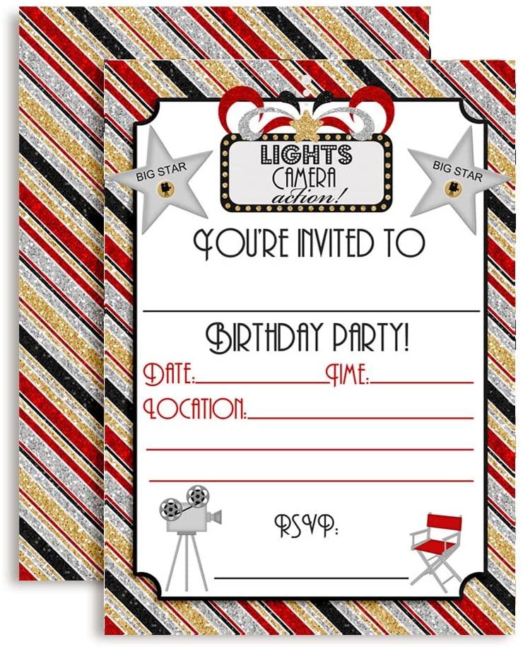 Lights, Camera, Action Movie Birthday Party Invitations, 20 5