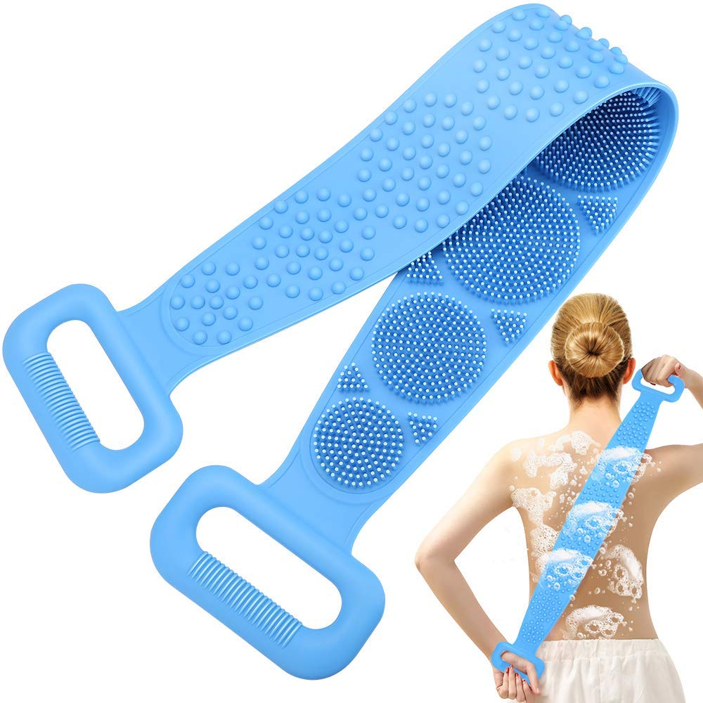 Silicone Back Scrubber for Shower,Thicken Handle Body Washer,Exfoliating Texture Scrubbing Pad,Back Cleaning Shower Brush Can Improves Blood Circulation and Skin Health (Sea sky blue)