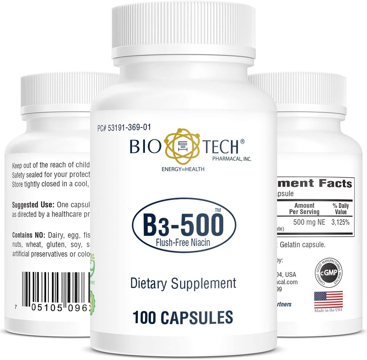 BioTech Pharmacal - B3-500 (Inositol Niacinate) - 100 Count