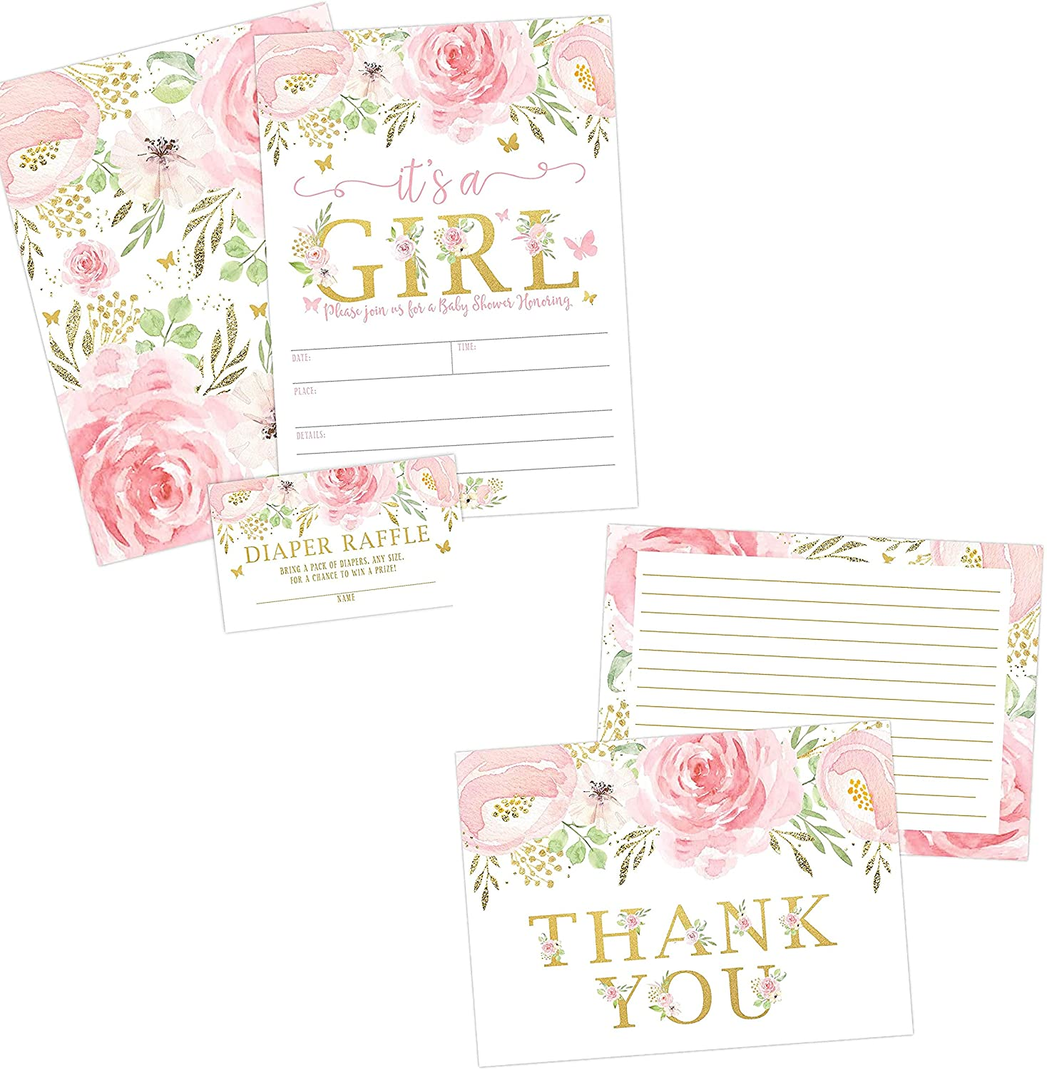 Floral Girl Baby Shower Invitations and Thank You Card Bundle Including Envelopes