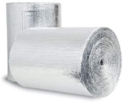 US Energy Products 100sqft (Foam Not Cheap Bubble) 24inch x 50ft Reflective Foam Core Insulation Garage Pipe Air Duct Faucet Attic Roof Basement Sauna Weatherization wrap kit (1/4