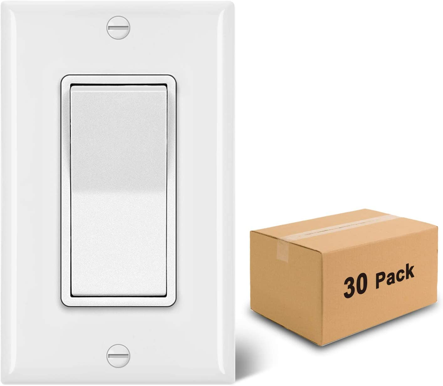 [30 Pack] BESTTEN Single Pole Decorator Wall Light Switch with Wall Plate, 15A 120/277V, On/Off Rocker Paddle Interrupter, UL Listed, White