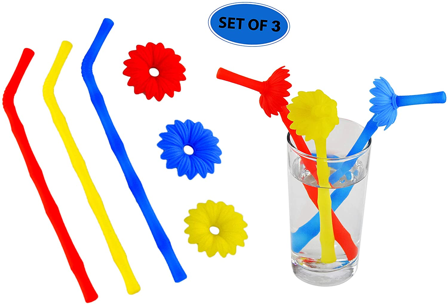 "HOME-X Reusable Silicone Drinking Straws with Removable Flowers, Big Size Flexible Straws, BPA Free, 3 Pieces-Yellow, Blue, and Red, Set of 3-8.75"" L"