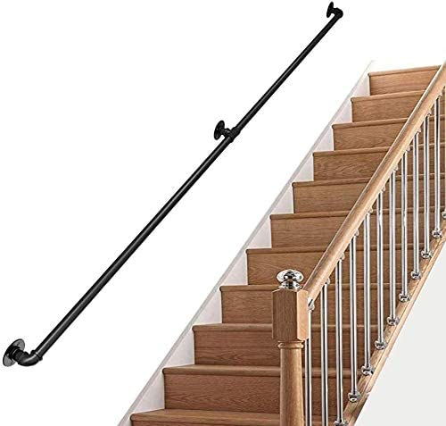 Indoor Outdoor Non-Slip Support Bar Stairs Handrail, Metal Wrought Iron Water Pipe Design Safety Handrail 0718 (Size : 1ft/30cm)