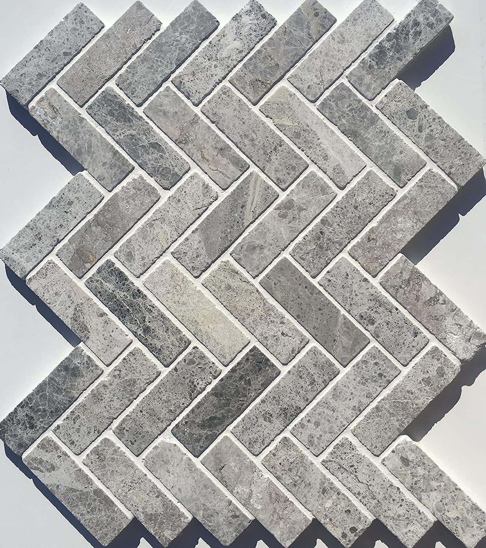 Tundra Grey 1 x 3 Herringbone Marble Mosaic Backsplash