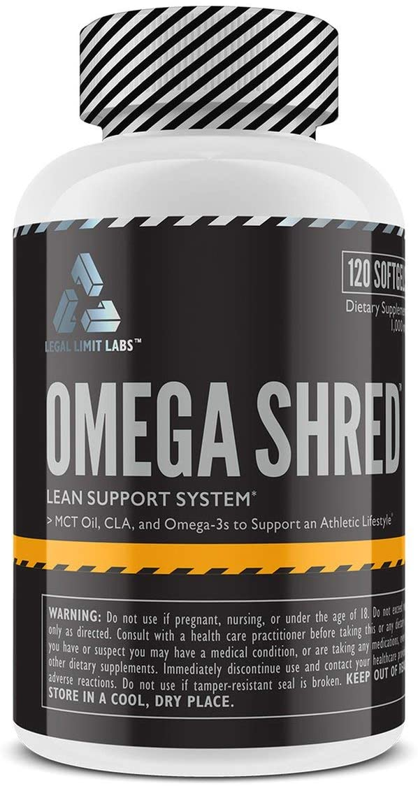 Complete Nutrition Legal Limit Labs Omega Shred, Omega 3 Fish Oil Supplement, Keto Friendly, MCT Oil, CLA, 120 Liquid Softgels