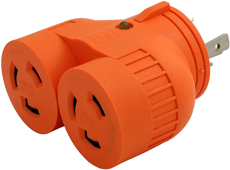 AC WORKS [ADVL630L630] V-DUO Adapter NEMA L6-30P 30Amp 250Volt 3-Prong Locking Plug to (2) L6-30R 30Amp 250Volt Locking Female Connectors