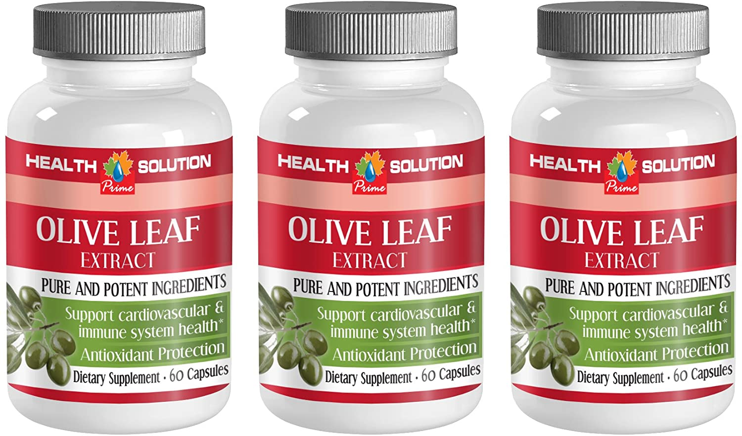 Digestive Support - Olive Leaf Extract 500Mg - Natural Immune Booster - 3 Bottle 180 Capsules