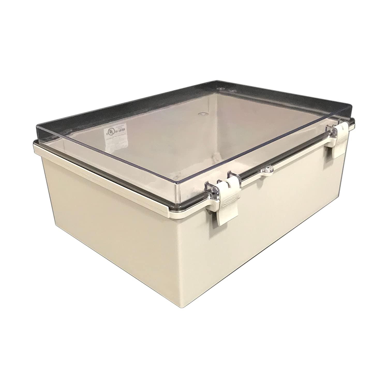 BUD Industries NBF-32426 Plastic Outdoor NEMA Economy Box with Clear Door, 15-47/64