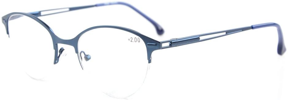 Eyekepper Quality Spring Hinges Half-Rim Cat-Eye Style Reading Glasses Blue +0.75
