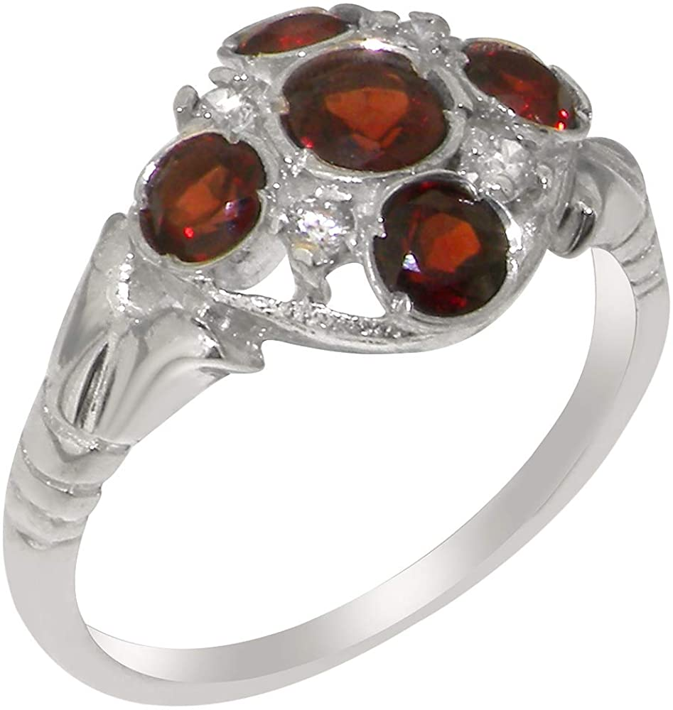 Solid 925 Sterling Silver Natural Garnet & Diamond Womens Cluster Ring - Sizes 4 to 12 Available