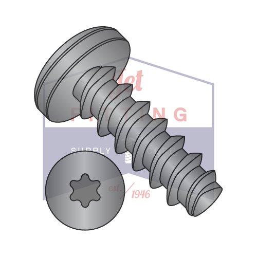 #8-16x3/8 Threelobular Thread Rolling 48-2 Screw for Plastic | Six-Lobe | Pan Head | Steel | Black Zinc (Quantity: 10000)