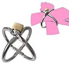 Siminey Girl's Night Out Bachelorette Party Wrists Accessorie Silver Luxury Stainless Steel Cross-Shaped Handcuffs with Lock and Keys for S M Play