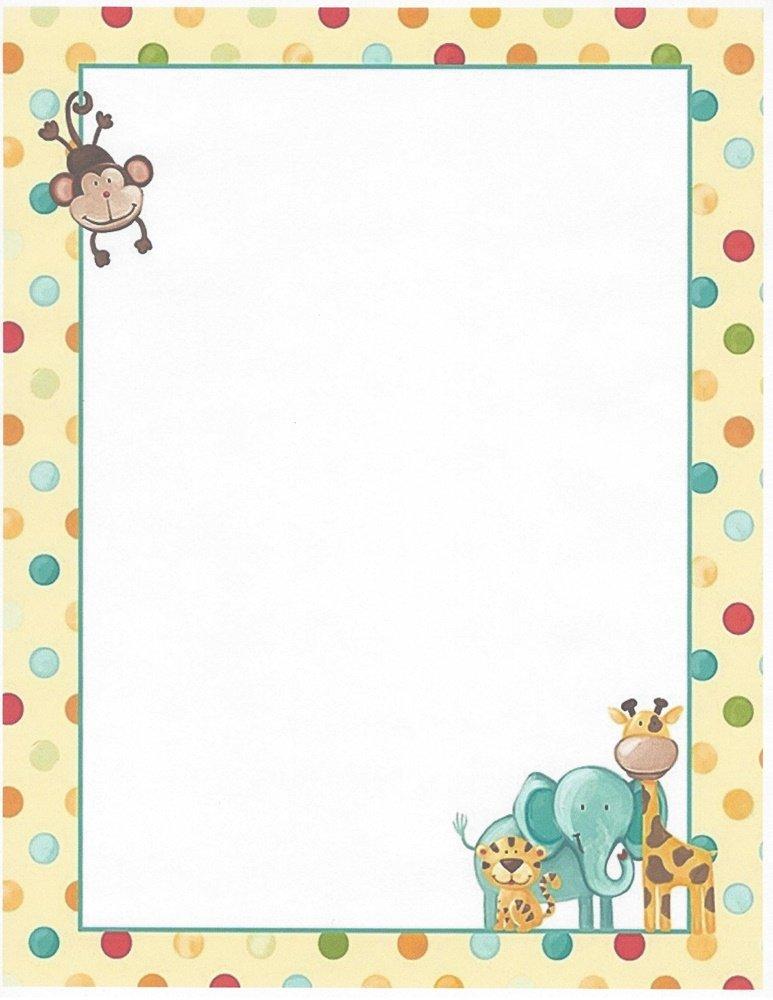 Kids Polka Dot Zoo Animals Stationery Printer Paper 26 Sheets