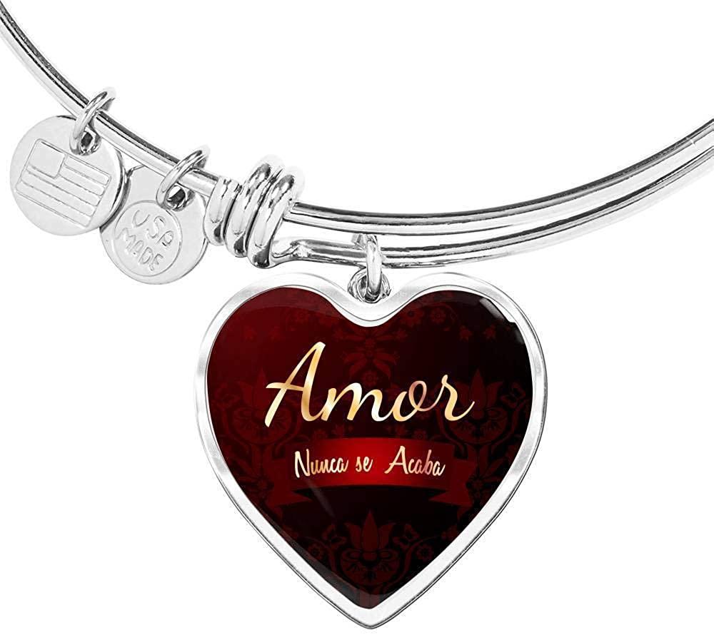 Amor Nunca Se Acaba Stainless Steel or 18k Gold Heart Bracelet Bangle