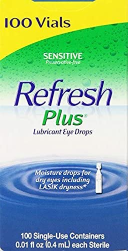 Allergan Refresh Plus Lubricant Eye Drops Single-Use Vials - 2Packs (100 Count) Preservative-Free The Easy Answer