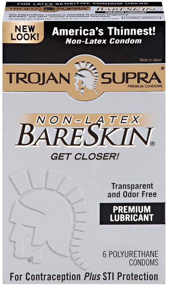 Trojan Supra BareSkin Lubricated Polyurethane Condoms - 6 Each, Pack of 3