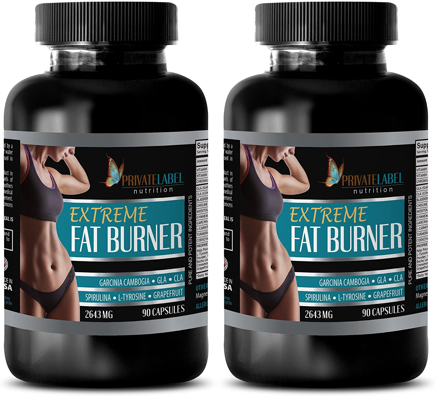 Fat Loss Happens on Monday - Extreme Fat Burner 2643 mg - Cla Bulk Supplements - 2 Bottle (180 Capsules)
