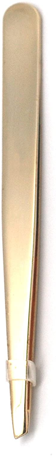 Signature Gold Slant Tweezers with Gold Protective Pouch