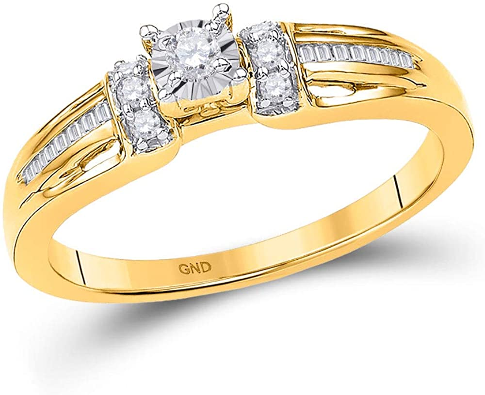 Dazzlingrock Collection 10kt Yellow Gold Womens Round Diamond Solitaire Promise Bridal Ring 1/5 ctw