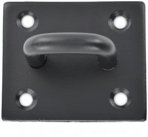 Merriway BH04490 6mm Duty Chain etc, 50x50mm-Black Steel 8 mm Heavy Plate Staple, Black