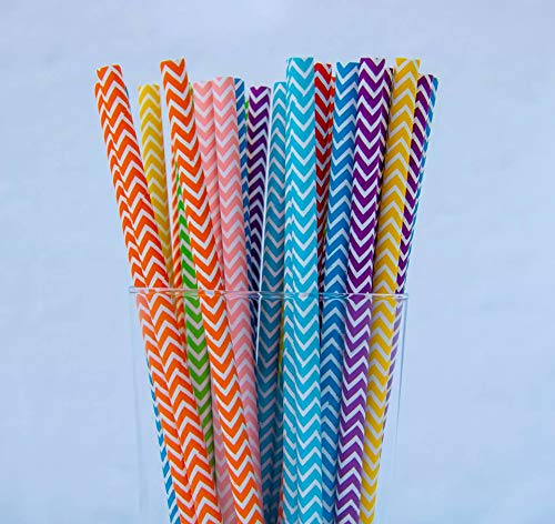 200 Pack Biodegradable Paper Straws of 5 Different Colors Made of Soy Ink for Party Supplies, Birthday, Wedding, Bridal/Baby Shower Decorations and Holiday Celebrations