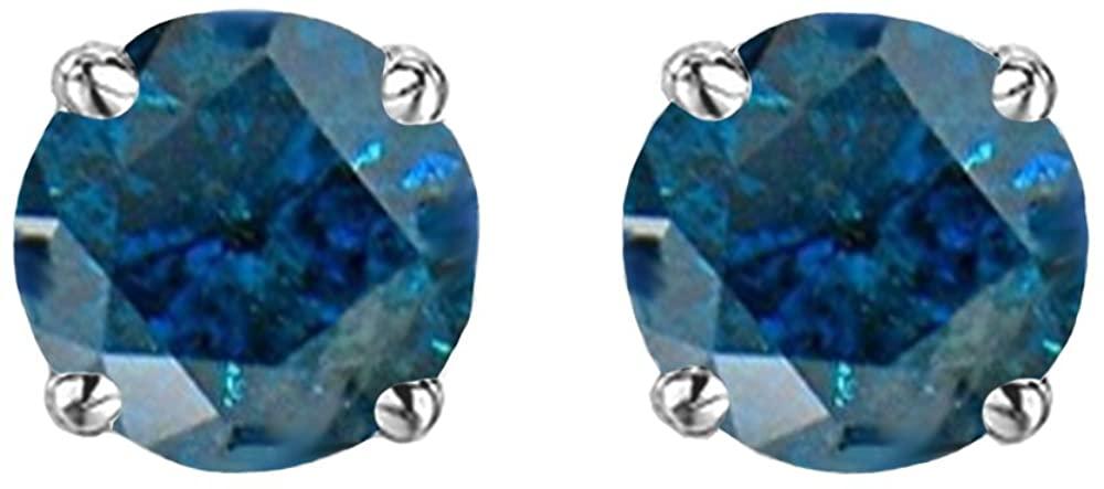 Fingalo 2.00 Carat (ctw) 18K White Gold Round Cut Blue Diamond Ladies Stud Earrings 2 CT