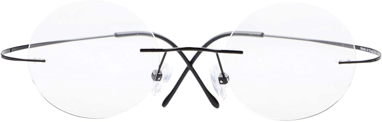CessBlu Titanium Circle Reading Glasses Bendable Rimless Round Reader Eyeglasses for Men Women Reading