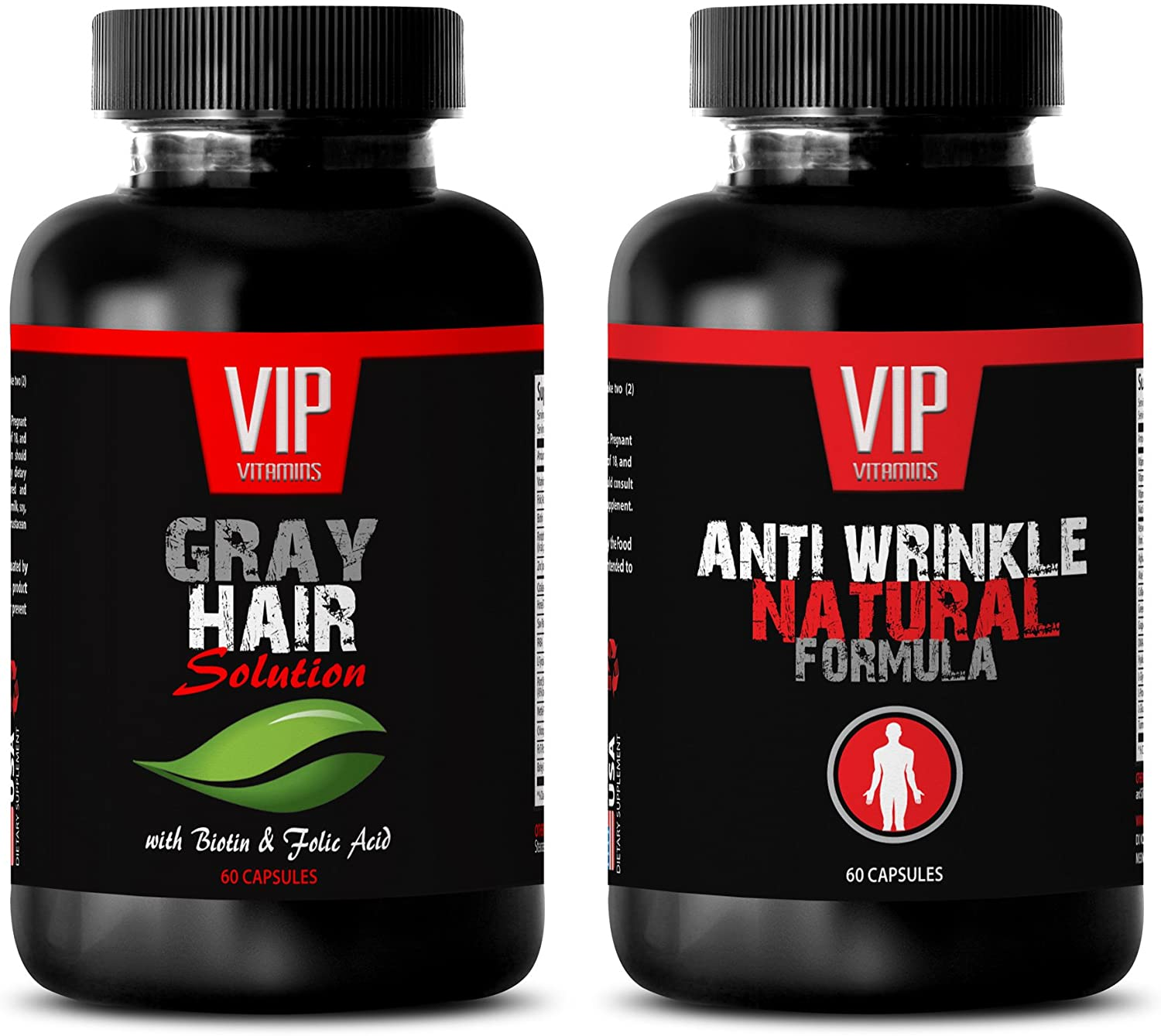 Rejuvenation Beauty - Gray Hair Solution – Anti Wrinkle Formula - Saw Palmetto Oil Extract - 2 Bottles (60 Capsules + 60 Capsules)