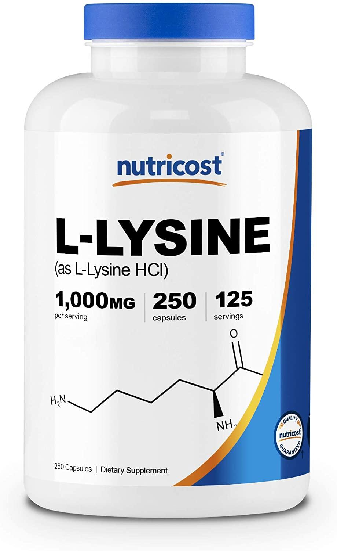 Nutricost L-Lysine 1000mg, 250 Capsules - 500mg Per Cap, Gluten Free, Non-GMO