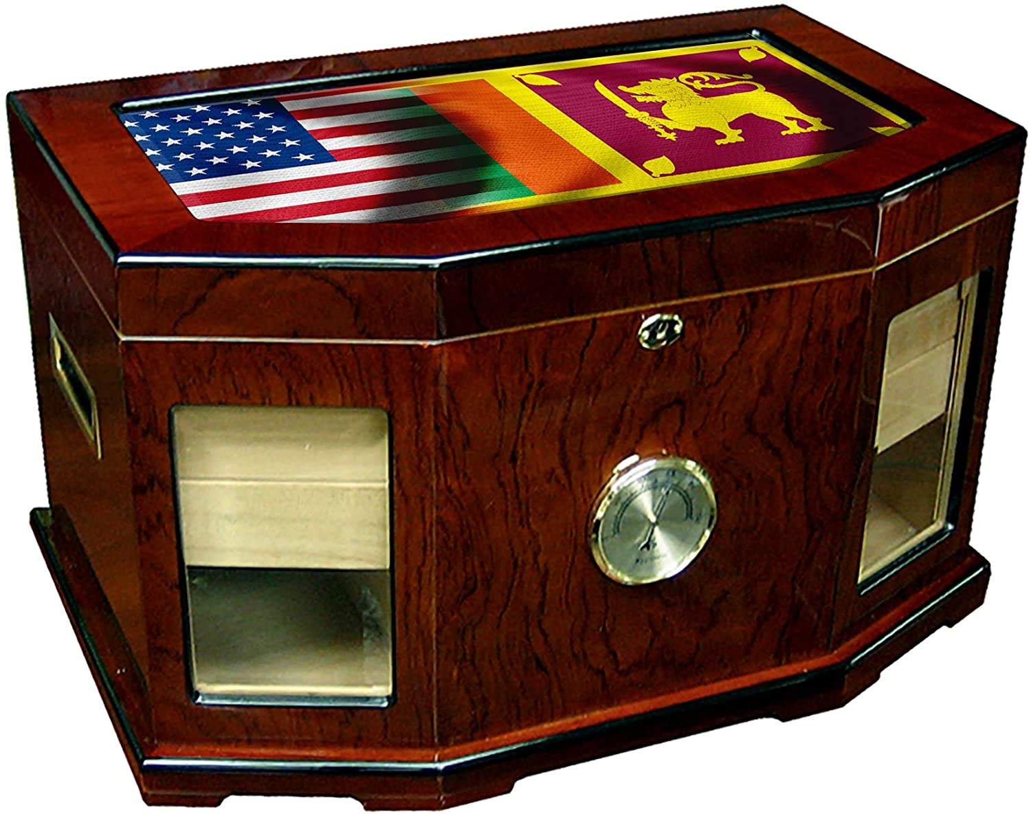 Large Premium Desktop Humidor - Glass Top - Flag of Sri Lanka (Sri Lankan) - Waves with USA Flag - 300 Cigar Capacity - Cedar Lined with Two humidifiers & Large Front Mounted Hygrometer.