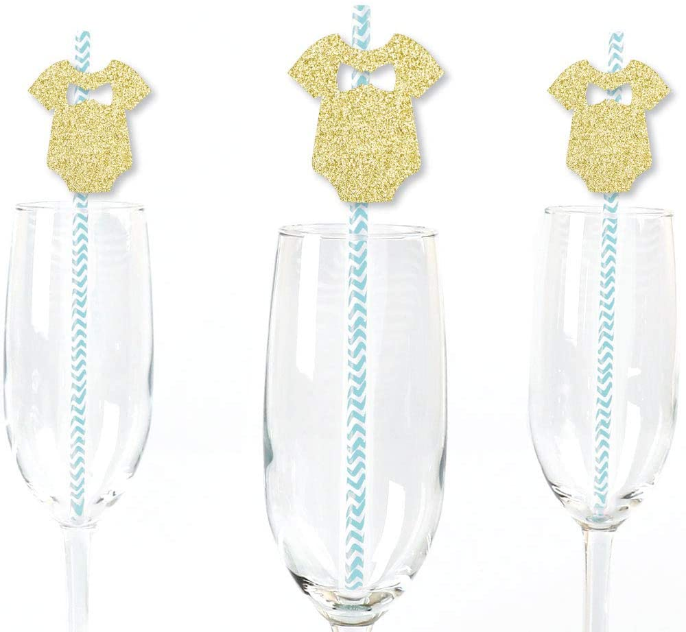 Gold Glitter Boy Baby Bodysuit Party Straws - No-Mess Real Gold Glitter Cut-Outs and Decorative Boy Baby Shower Paper Straws - Set of 24