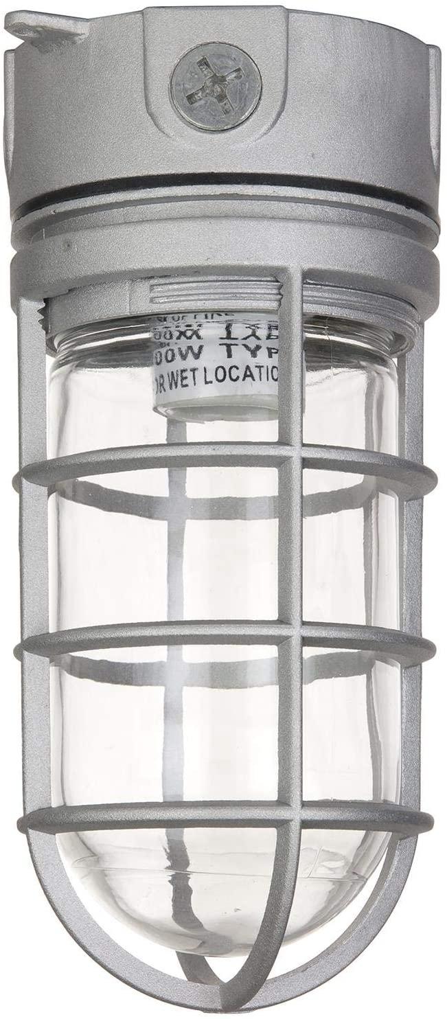Sunlite 41329-SU Vaporproof Industrial Fixture, Ceiling Mount, Medium Base Socket (E26), 100W Max, 120 Volt, Outdoor, UL Listed, Clear Glass Jar, Metallic Finish