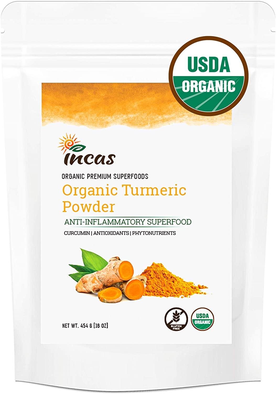 100% USDA Organic Turmeric Root Powder (16 oz/454 g) w/Curcumin Third Party Lab Tested Vegan Non GMO Raw from India Antioxidants Anti-Inflammatory Natural Superfood Ground Curcuma Longa Haldi Bulk