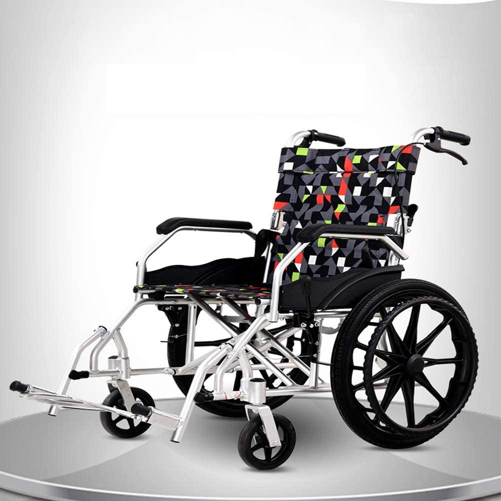 NADAENF Aluminum Alloy Wheelchair Folding Lightweight Elderly Travel Disabled Portable Cart with Armrest Cushions