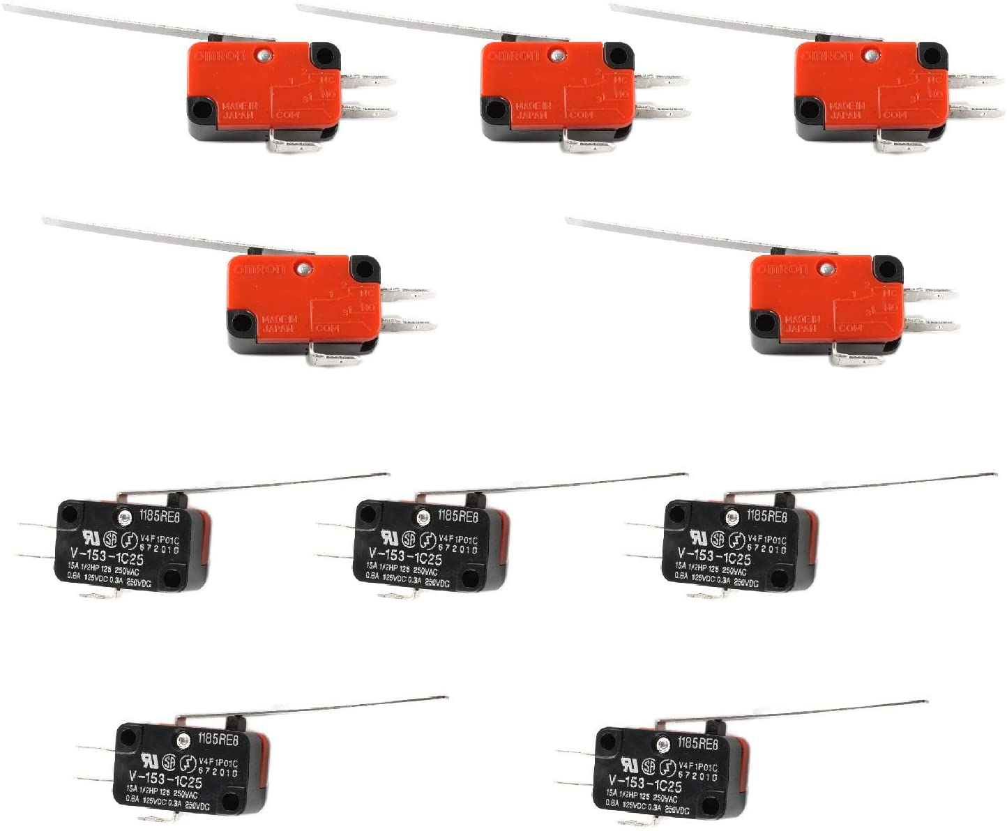 Podoy V-153-1C25 Micro Limit Switch Compatible with Arduino CYT1068 Long Straight Hinge Lever Arm SPDT Snap Action LOT Quick Connect 15A 250VAC(Pack of 10)