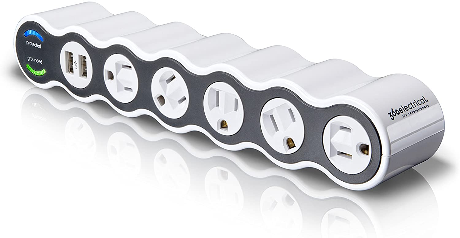 360 Electrical 36052 White Surge Protector, 5-Outlet + 2 USB + 4 ft. Cord