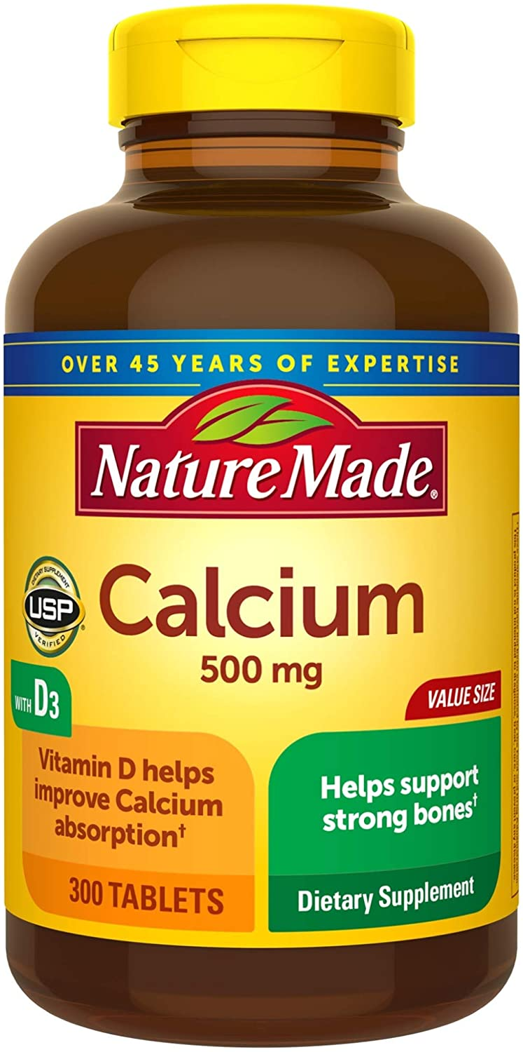 Nature Made Calcium 500 mg Tablets with Vitamin D, 300 Count Value Size for Bone Health† (Pack of 3)