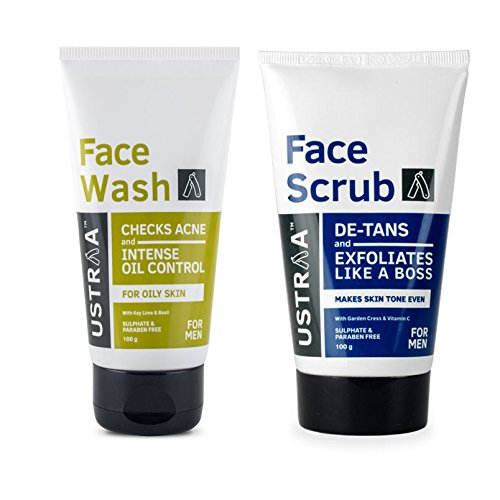 Ustraa Face Wash Brain Freeze and Face Scrub De-tan (Pack of 2)