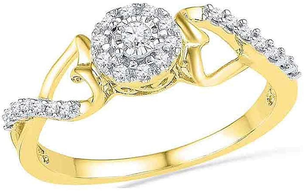 Dazzlingrock Collection 10kt Yellow Gold Womens Round Diamond Cluster Heart Promise Bridal Ring 1/6 ctw