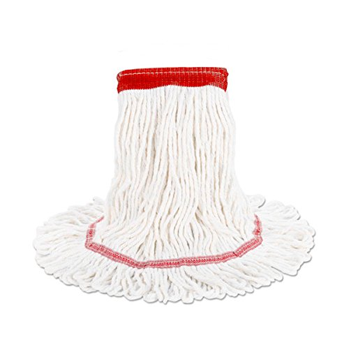 HUB City Industries 511212 White Hsp Rayon Synthetic Blend Pre-Shrunk Loop Mops, Narrow Band, Small