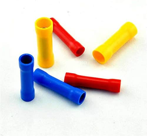 Davitu Terminals - 50Pcs BV1.25 BV2.5 BV5.5 Cold pressed copper tube Insulated Crimp Terminals Electrical Wire Cable Crimping Terminal Connector - (Color: BV5.5 Yellow)